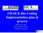 EMAR  Bar Coding Implementation plan  process