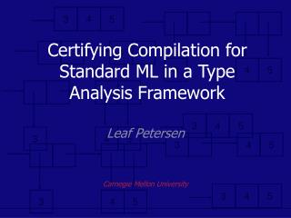 Certifying Compilation for Standard ML in a Type Analysis Framework