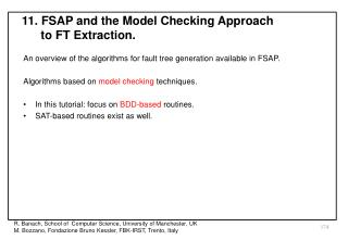 11. FSAP and the Model Checking Approach to FT Extraction.