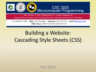 Building a Website: Cascading Style Sheets (CSS)