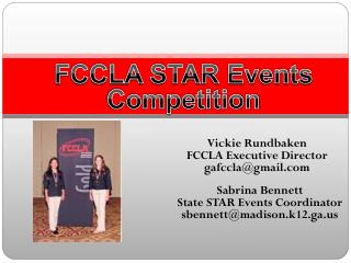 Vickie Rundbaken FCCLA Executive Director gafccla@gmail.com