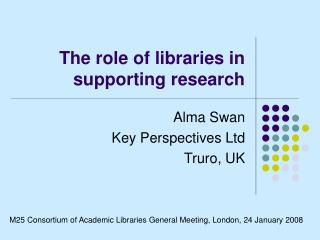 The role of libraries in supporting research