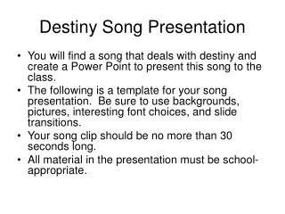 Destiny Song Presentation