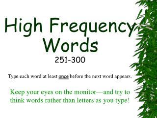 High Frequency Words 251-300
