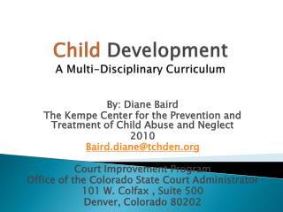 Child  Development  A Multi-Disciplinary Curriculum