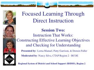 Focused Learning Through Direct Instruction Session Two: Instruction That Works:  Constructing Effective Learning Object