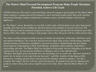 The Matrix Mind Personal Development Program Helps People Ma