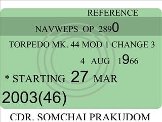 REFERENCE                            NAVWEPS  OP  2890     TORPEDO MK. 44 MOD 1 CHANGE 3