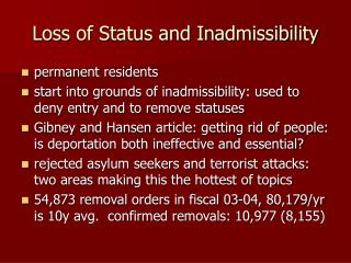 Loss of Status and Inadmissibility