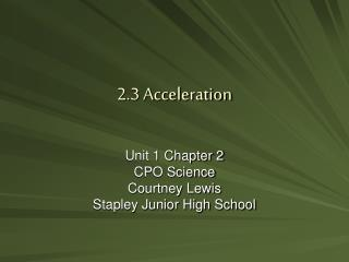 2.3 Acceleration