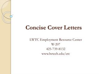 Concise Cover Letters