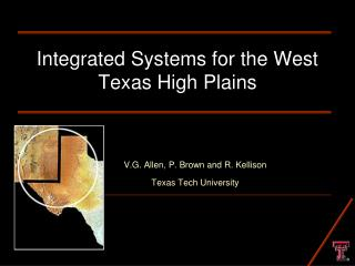 Integrated Systems for the West Texas High Plains
