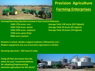 Farming/Ranching Operation located in East Central Oklahoma 	1500-1750 acres: corn		Average Yield: 190  bu /ac (247 hig
