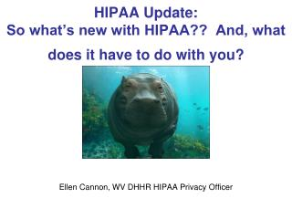 HIPAA Update: So what's new with HIPAA??  And, what does it have to do with you?