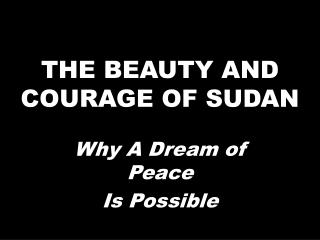 THE BEAUTY AND COURAGE OF SUDAN