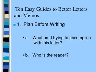 Ten Easy Guides to Better Letters and Memos