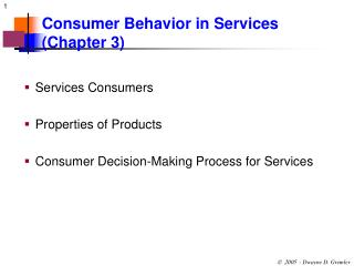 Consumer Behavior in Services (Chapter 3)