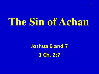 The Sin of  Achan
