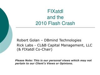 FIXatdl and the 2010 Flash Crash