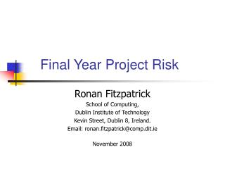 Final Year Project Risk
