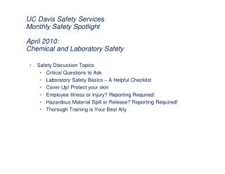 UC Davis Safety Services Monthly Safety Spotlight April 2010:  Chemical and Laboratory Safety