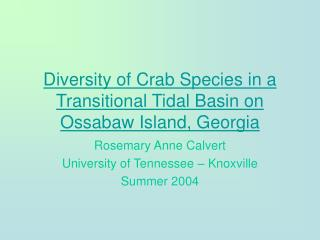 Diversity of Crab Species in a Transitional Tidal Basin on Ossabaw Island, Georgia
