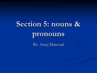 Section 5: nouns & pronouns