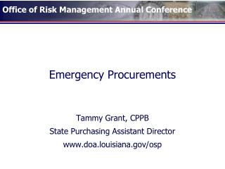 Emergency Procurements