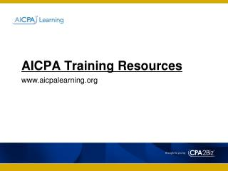 AICPA Training Resources