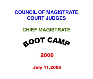 COUNCIL OF MAGISTRATE COURT JUDGES CHIEF MAGISTRATE
