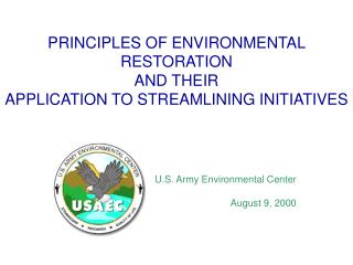 PRINCIPLES OF ENVIRONMENTAL RESTORATION AND THEIR APPLICATION TO STREAMLINING INITIATIVES
