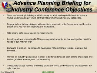 Advance Planning Briefing for  Industry Conference Objectives