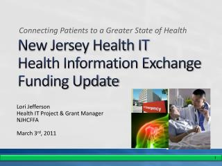 New Jersey Health IT Health Information Exchange Funding Update