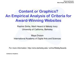 Content or Graphics?  An Empirical Analysis of Criteria for Award-Winning Websites