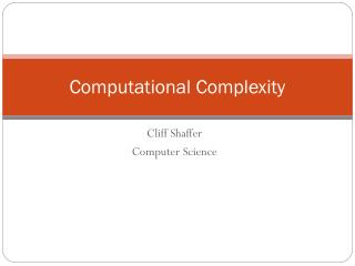 Cliff Shaffer Computer Science