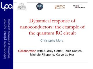 Dynamical response of  nanoconductors : the example of the quantum RC circuit