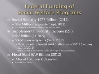 Federal Funding of  Social Welfare Programs