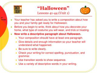 """Halloween""  Lessons 41-44 (Unit 1)"