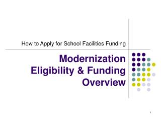 Modernization  Eligibility & Funding Overview