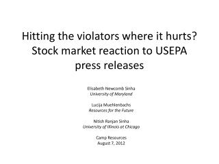 Hitting the violators where it hurts? Stock market reaction to USEPA press releases
