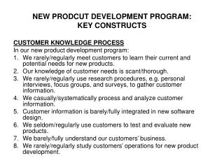 NEW PRODCUT DEVELOPMENT PROGRAM: KEY CONSTRUCTS