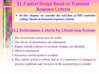 12. Control Design Based on Transient Response Criteria