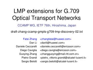 LMP extensions for G.709 Optical Transport Networks