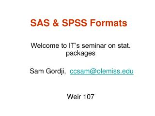SAS & SPSS Formats