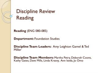 Discipline Review Reading