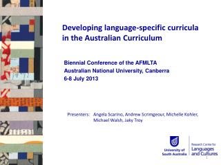 Developing language-specific curricula in the Australian Curriculum
