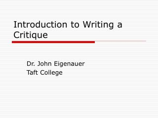 Introduction to Writing a Critique