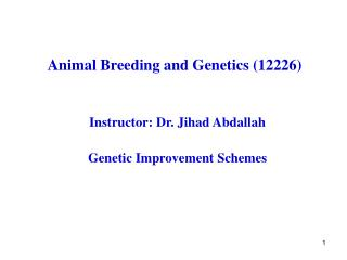 Animal Breeding and Genetics (12226)