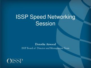 ISSP Speed Networking Session