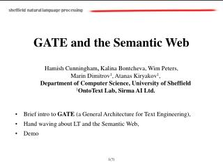 GATE and the Semantic Web